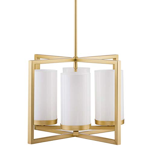 - Verona 4 Light Contemporary Intersecting Pendant - Satin Brass - Linea di Liara LL-CH18-3SB