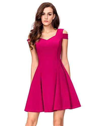 (InsNova Women's Cold Shoulder Little Cocktail Party A-line Skater Dress (Small, Hot Pink))