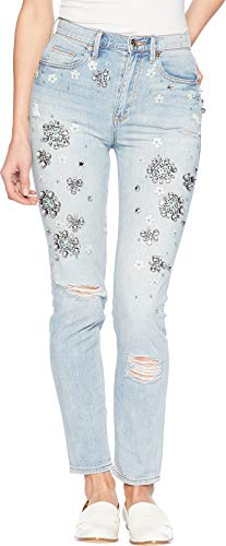 Juicy Couture Women's Denim Floral Embellished Girlfriend Jeans High Tide Wash 26 29.5