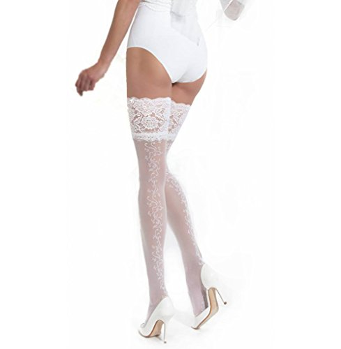 (Conte Women's Floral Thigh High Wedding Stockings with Wide Lace Decorative Band - White, Medium -)
