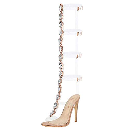 onlymaker Rhinestones Knee High Gladiator Transparent Gem Clear Stiletto High Heels Sandals for Women Gold Size 6