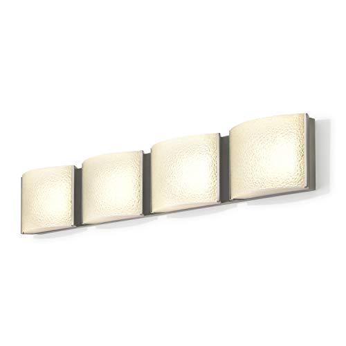LED Bathroom Vanity Fixture - 4-Light, Nickel Metal Finish, Textured Water Glass, Hardwire, Damp Located - ETL ()