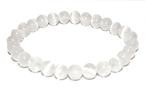 10mm Selenite Bracelet 01 Natural High Vibration Healing Crystal Energy (Gift Box) (6 Inches) -