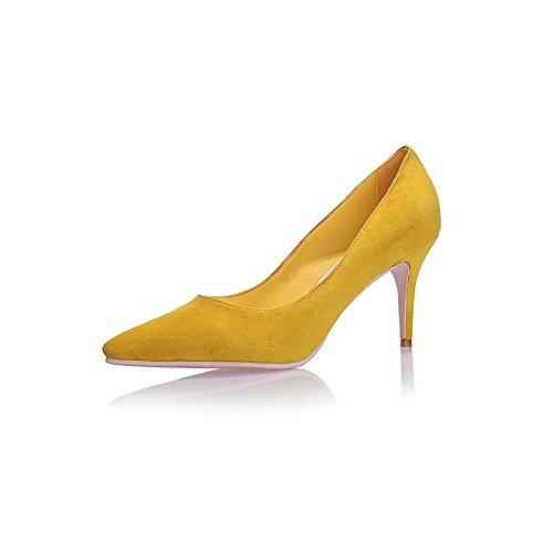 Toe WeenFashion Spikes Pointed Stilettos Sheepskin Shoes Women's Closed Pumps Yellow Solid ZaatHqT
