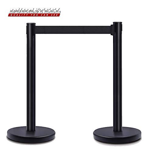 DuraSteel VIP Series Standard Rope Barriers - 2 Pcs Set Heavy Duty Black Tuff Tex Crowd Control Stanchions - 36