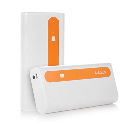 Aibocn power Bank 10,000mAh External Battery Charger two times USB mobile or portable Charger using Flashlight (Bright Singal Orange)