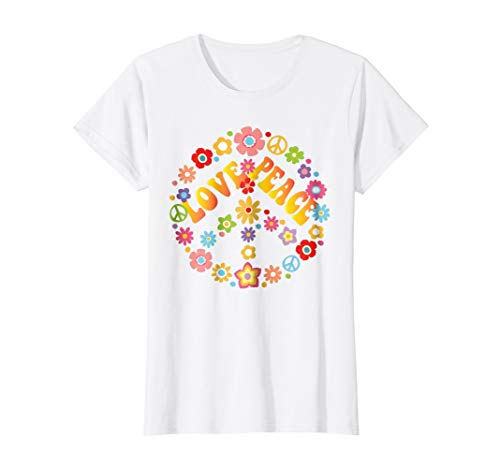Womens PEACE SIGN LOVE T Shirt 60s 70s Tie Die Hippie Costume Shirt Large White