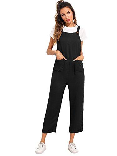Verdusa Women's Sleeveless Straps Pockets Plaid Culotte Jumpsuit Overalls Black M ()