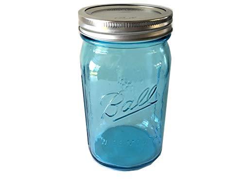 Ball Mason Jar-32 oz. Aqua Blue Glass Ball Collection Elite Color Series Wide Mouth