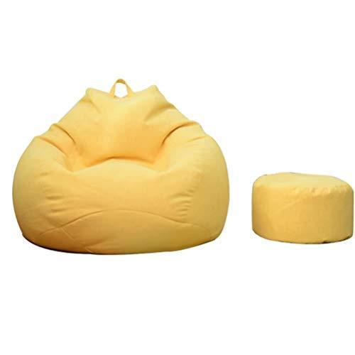 ビーズクッション 特大 座布団 人をダメにするソファ 一人掛け ビーズソファ 足枕が付くセット 90*110cm もちもち 低反発 クッション 洗える イエロー B07S8KXS5C イエロー 90*110cm