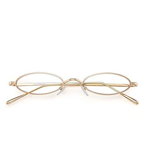 Hombre Dorado Transparente Delgadas Mujer Lentes Anteojos Pequeñas Sol Metal Retro de Ovaladas Gafas Claro Teñido O7Zaqa