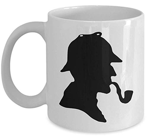 Book literature lover coffee tea mug - Famous Sherlock Holmes detective silhouette hat pipe - Sir Arthur Conan Doyle English author gift crime story cup ()