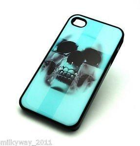 BLACK Snap On Case iPhone 4 4S Plastic Cover ICEBERG BLUE CROSS SKULL sugar teal