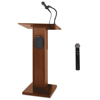 Elite Lecterns with Wireless Sound System, 24w x 18d x 44h, Mahogany, Sold as 1 Each