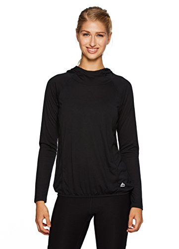 RBX Active Women's Lightweight Hooded L/S Pullover Workout Top Black (Burnout Pullover)