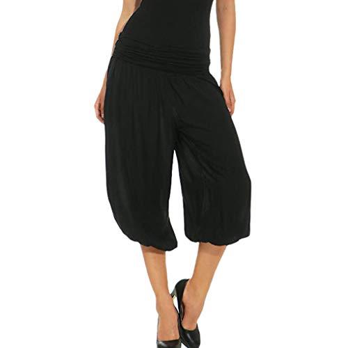 - Women's Active Yoga Lounge Capri Pants with Pockets Elastic Band Loose Pants Black