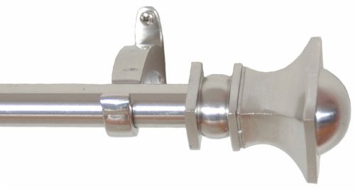 RuLu 28476 44 by 108-Inch Half Round Nickel Curtain Rod with 0.75-Inch Pipe