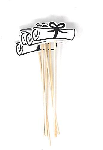 Double Sided Graduation Diploma Centerpiece Sticks Set of 8 Diploma Picks Floral Picks Metallic Foil (Black) -