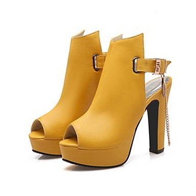 US5 PU Bootie Peep Rivet Boots EU35 Shoes Women's Toe Novelty Fashion UK3 Boots Boots Ankle Buckle Chunky Comfort Heel Booties CN34 For RTRY Spring Summer Ow1Eq