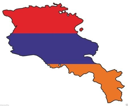 (ARMENIA SILHOUETTE BUMPER DECAL MAP FLAG MAP FLAG BUMPER STICKER)