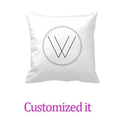 Custom it for you Monogramed Pillowcase Soft White/Gray Monogram W -