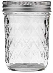 Ball Quilted Crystal Regular Mouth Half-Pint 8 Oz. Glass Mason Jars with Lids and Bands, 12 Count