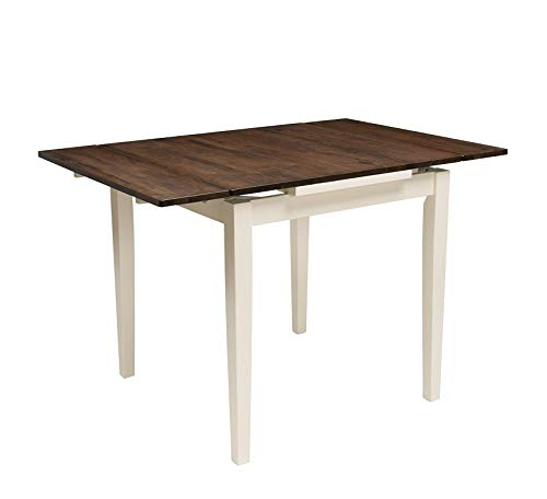 Wood & Style Furniture Dillon Dining Table Dark Brown/Cream Home Office Commerial Heavy Duty Strong Décor (Cream Table Dining Extending)