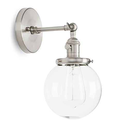 Permo Vintage Industrial Wall Sconce Lighting Fixture with Mini 5.9' Round Clear Glass Globe Hand Blown Shade (Brushed)