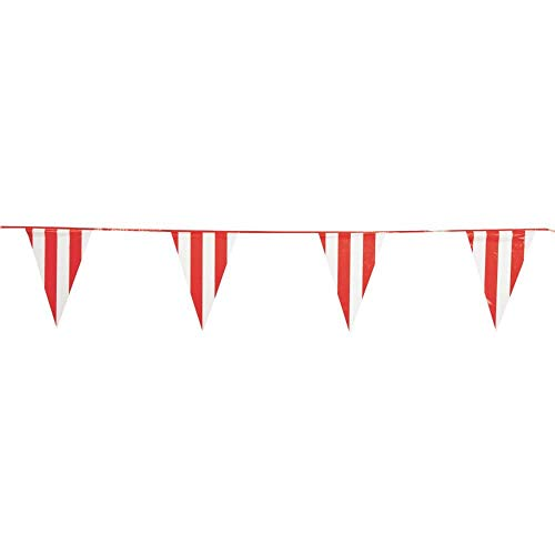 Fun Express - 100 Foot Red and White Pennant Banner - Carnival Banner,1-Pack
