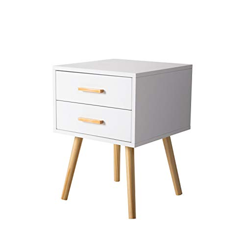 Peach Tree Side End Table Nightstand with 2 Drawers Storage Mid-Century Accent Wood Furniture, White/Wooden (Wooden White Nightstand)