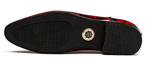 OPP Hombres Loafer Flats vestido formal zapatos de piel suave Tiny agujeros Slip-On decoración rojo
