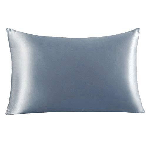 YANIBEST Silk Pillowcase for Hair and Skin, 19 Momme 100% Pure Natural Mulberry Silk Pillowcase King Queen Standard Size, Pillow Cases Cover with Hidden Zipper (Queen, Blue Haze)