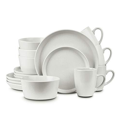 Stone Lain Stoneware Dinnerware Set, Service For 4, White Speckled
