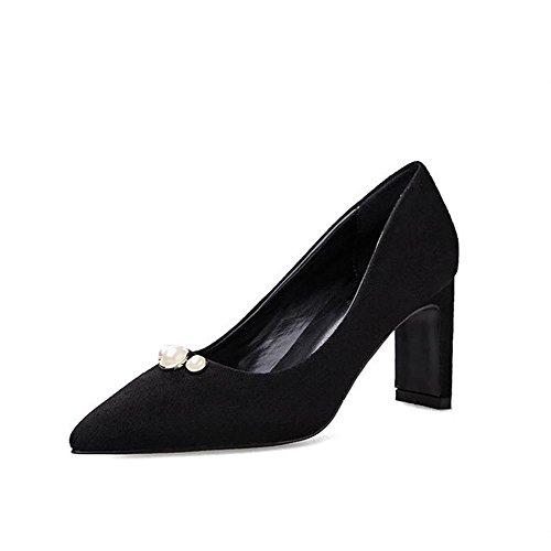 frauen schuhe high heels leder pumps casual geschlossene zehe party hochzeit büro bühne perle arbeit sandalen black