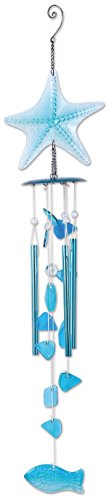 (Sunset Vista Designs 92539 Blue Starfish Wind Chime, Metal and Color Glass)