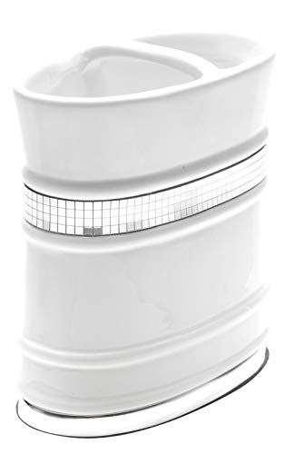 (Carmen Home Bathroom Tooth Brush Holder White Radiance Collection)
