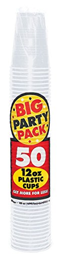 Big Party Pack Clear Plastic Cups | 12 oz. | Pack of 50 | Party Supply