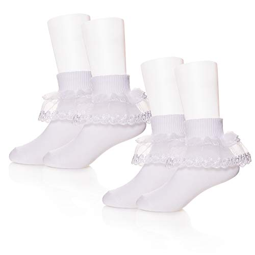 PUREMART 2 Pack Baby Girls Toddlers Kids Classic White Princess Lace Ruffle Frilly Mesh Socks Ankle Cotton Socks for 1-8 Year Old (1-3 Year Old, 2 Pack With Double Lace)