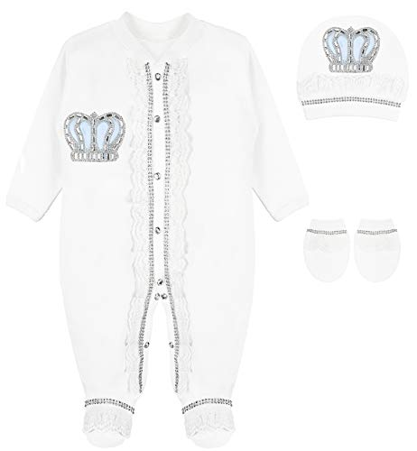 Lilax Baby Boy Newborn Lace Detail Crown Jewels Layette 3 Piece Blue Gift Set 0-3 -