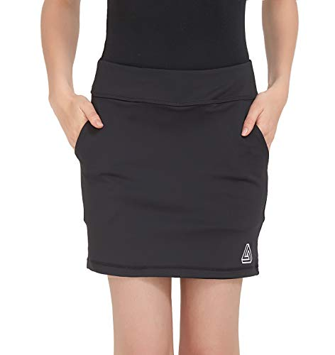 - DOMICARE Women Active Athletic Skorts with Pockets - Lightweight Quick Dry Skirt with Short for Workout Sports, S, Black