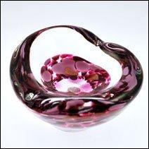 Caithness Glass Crystal Sarah P Art Glass Fuchsia Mini Heart Bowl, Pink by Caithness Glass