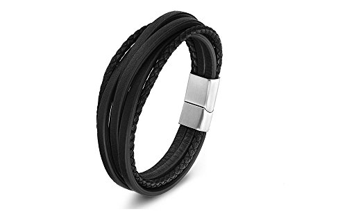 - Zen Styles Men's Black Leather Bracelet, Multi-Strand Braided Cuff Bracelet with Stainless Steel Magnetic Clasp, Premium Quality, Fits Wrist Size 9 Inches, 23cm