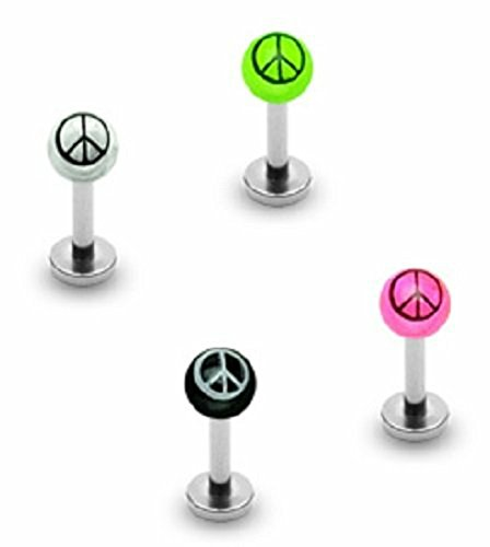 Body Accentz 316l Surgical Steel Labret 3mm Peace Sign Uv Ball 16g 5/16