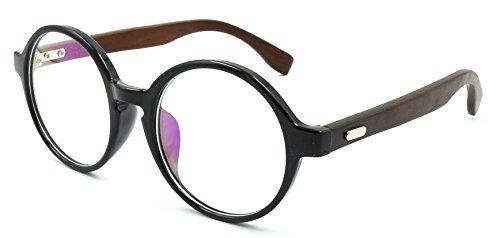 Amillet Wooden Vintage Retro Round Glasses Frame Clear Lens Fashion Circle Eyeglasses 48mm