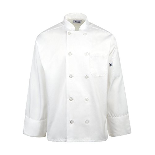 Linteum Textile 65/35 Poly/Cotton Unisex Chef Coat White (Extra- Small) by Linteum Textile Supply