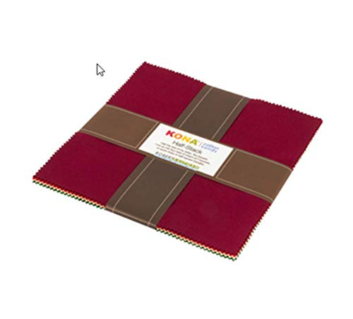 Kona Cotton Holiday Palette Half Stack Ten Squares 24 10-inch Squares Robert Kaufman HS-111-24 (Cotton Holidays Fabric Quilt)