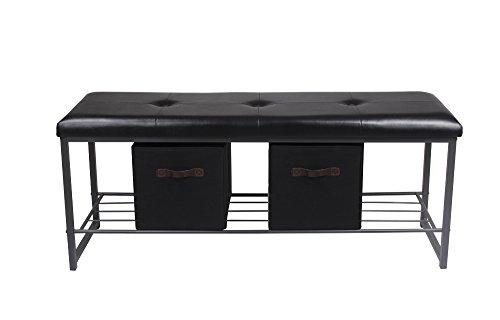 (GIA B06-BKPU-LGR_VC Bench with Storage Cubes Bench Bench with Storage Cubes Black Seat, Dark Gray Frame)