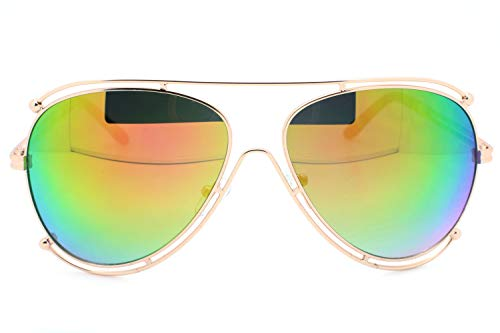 (Gold Mirrored Designer Inspired Double Wire Large Sunglasses Metal Frame Women)