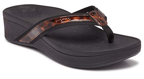 Vionic Women's Pacific High Tide Toepost Sandals – Ladies Platform Flip Flops with Orthotic Arch Support Black Tortoise 9 W US