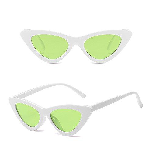 Femme Blanc BOZEVON Soleil Rétro Triangle de Homme Lunettes Lunettes Vert de Unisexe Oeil chat Mode Classique dOO1rn6